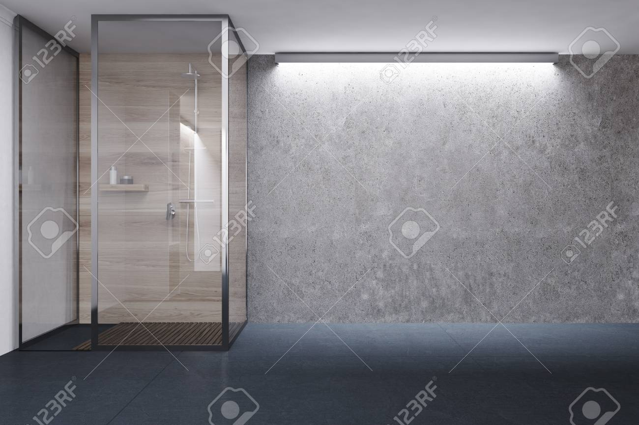 Charmant Concrete And Wooden Bathroom With A Black Tiled Floor, And A Shower Stall  With Glass