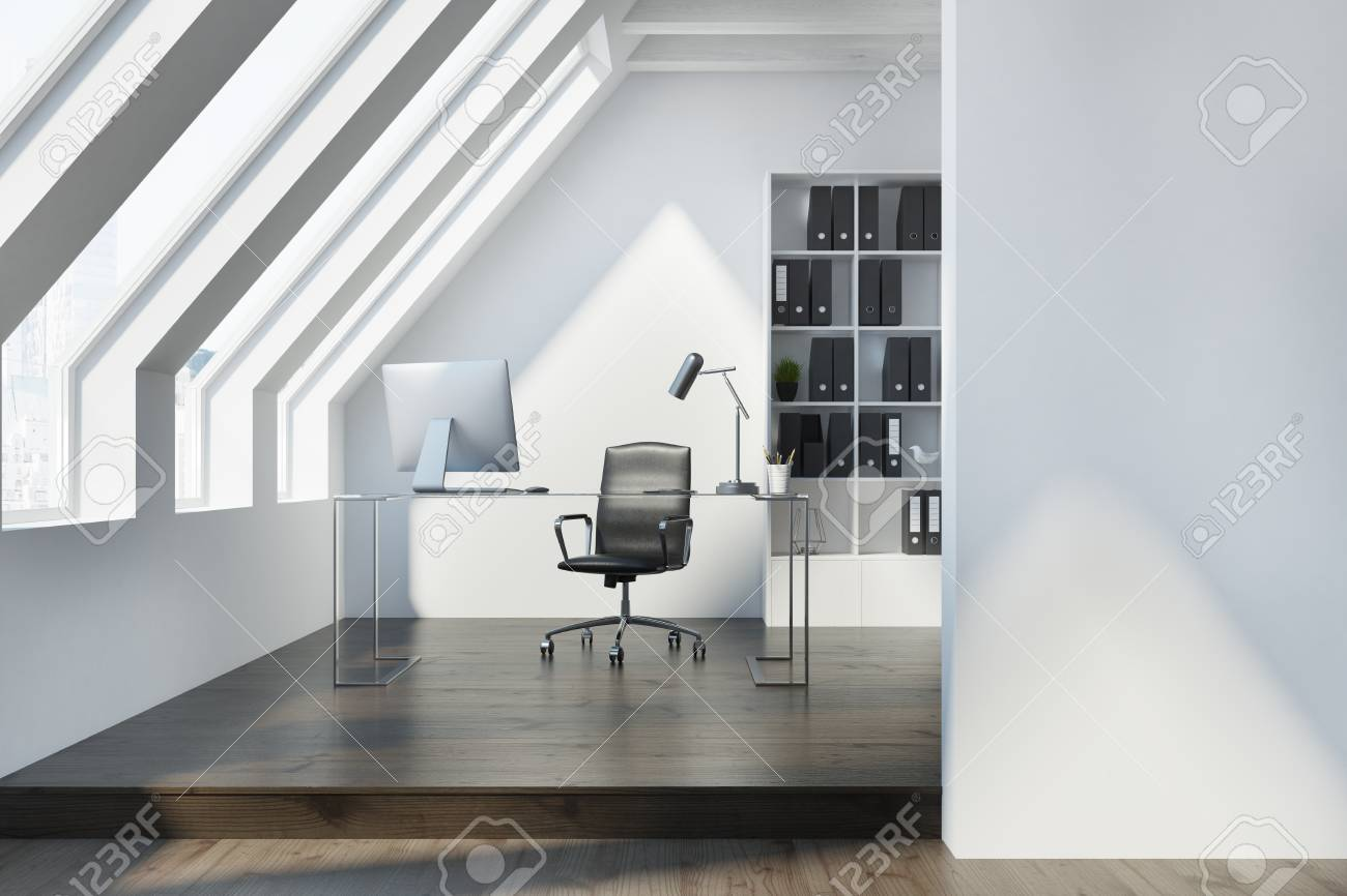 White Attic Office Interior With A Dark Wooden Floor, Large Windows ...