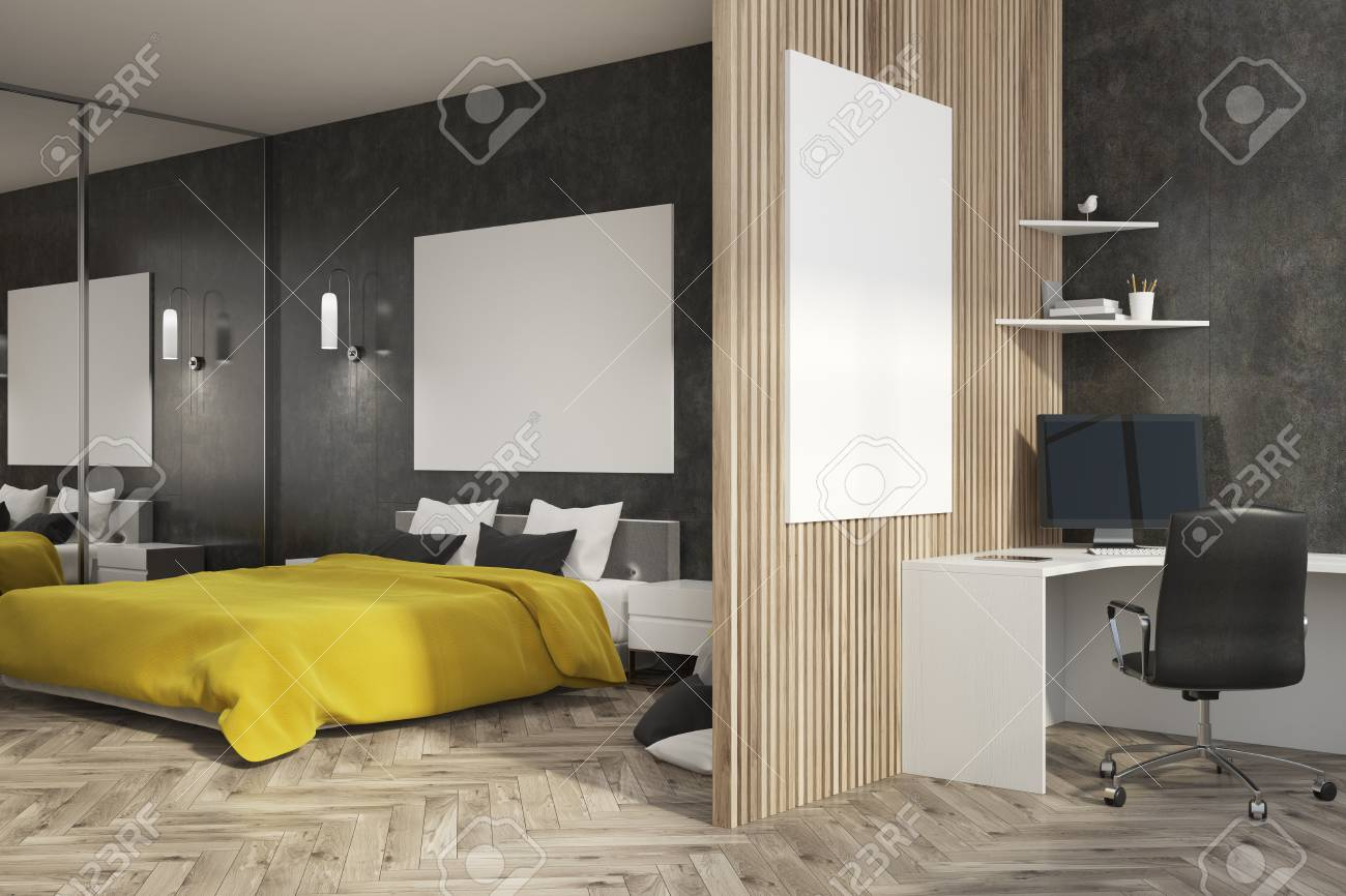 Black bedroom interior with a wooden floor, a yellow master bed,..
