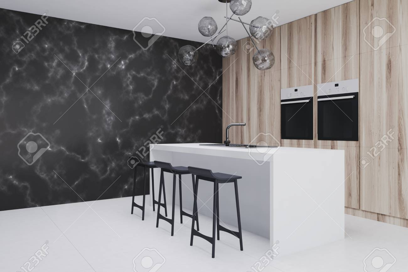 Side View Of A Black Marble Kitchen And Living Room Interior Stock Photo Picture And Royalty Free Image Image 91305926