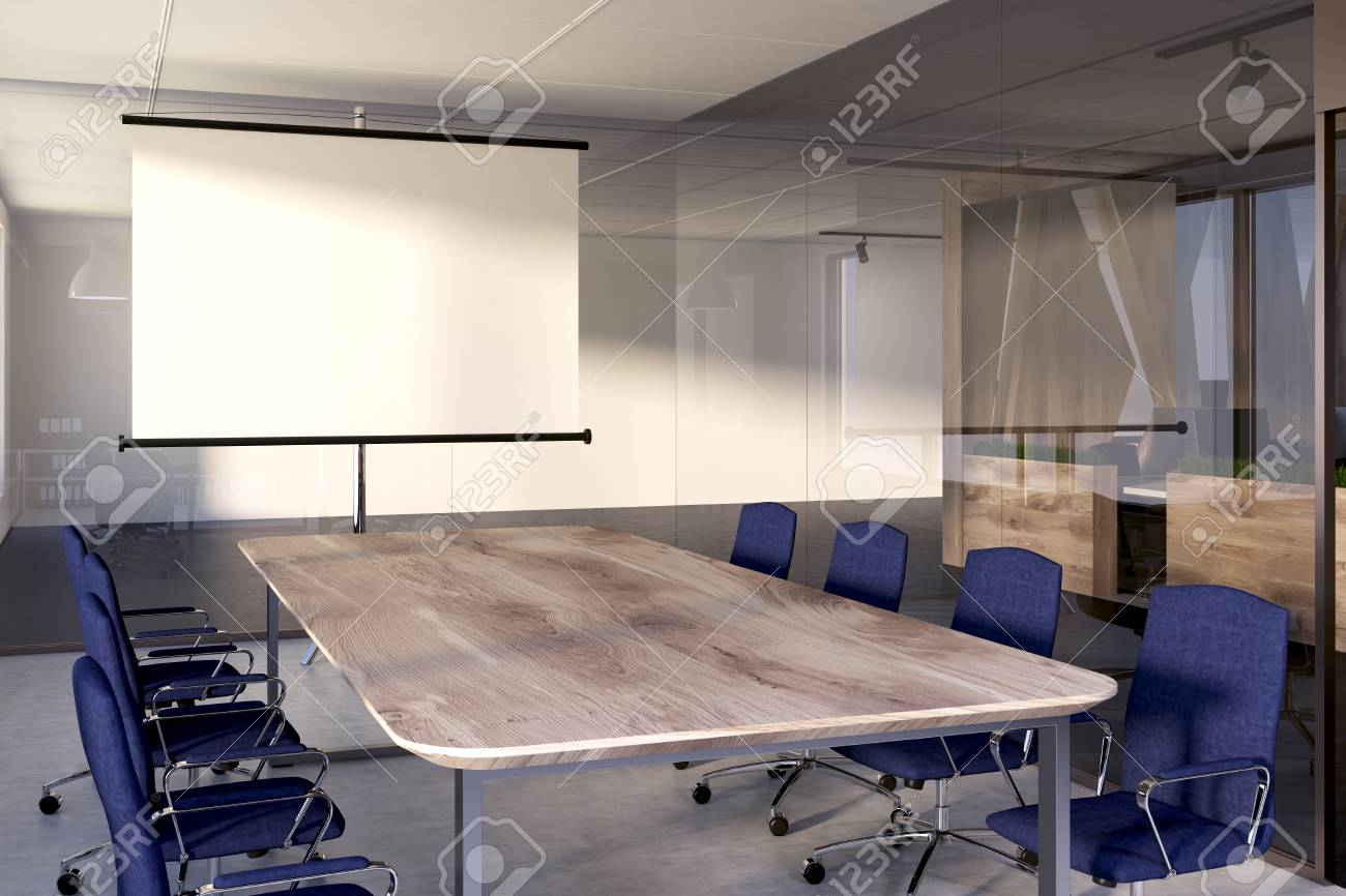Long Wooden Conference Room Table With Two Rows Of Blue Chairs Standing  Near It. Concept