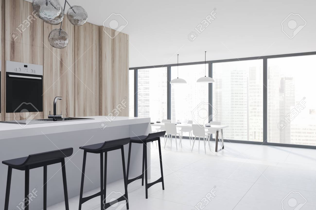 Side View Of A Panoramic Kitchen And Dining Room Interior With Bar Stand Black