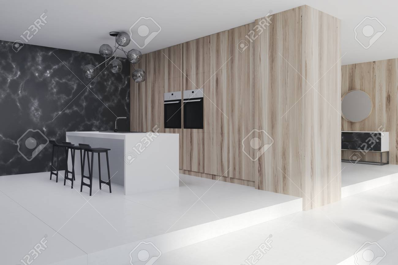Side View Of A Black Marble Kitchen And Living Room Interior Stock Photo Picture And Royalty Free Image Image 91305600