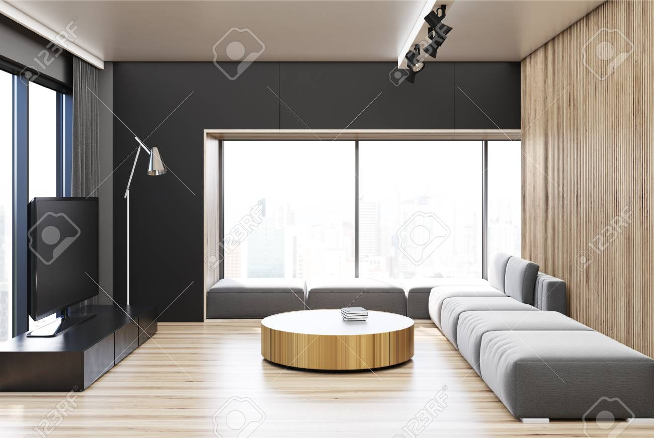 Black Living Room Interior With A Wooden Wall And Floor, A Gray ...