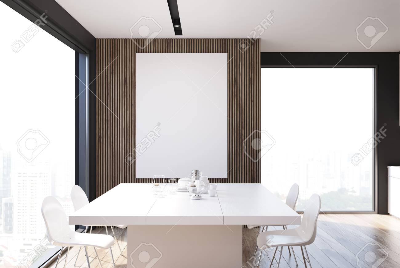 Salle à Manger Grise Et Bois Avec Une Longue Table Blanche Et Des