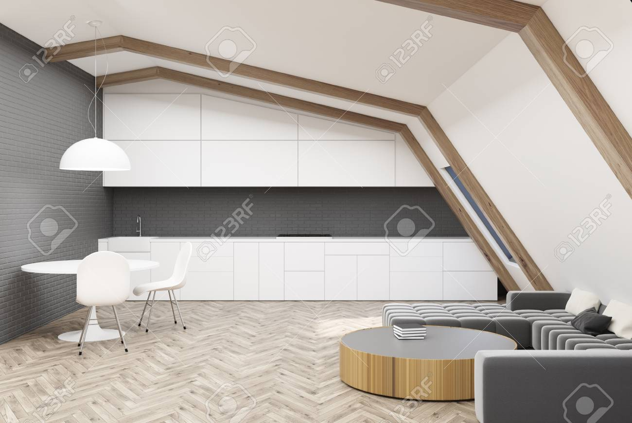 Attic Living Room Interior With White And Gray Walls, Wooden.. Stock ...