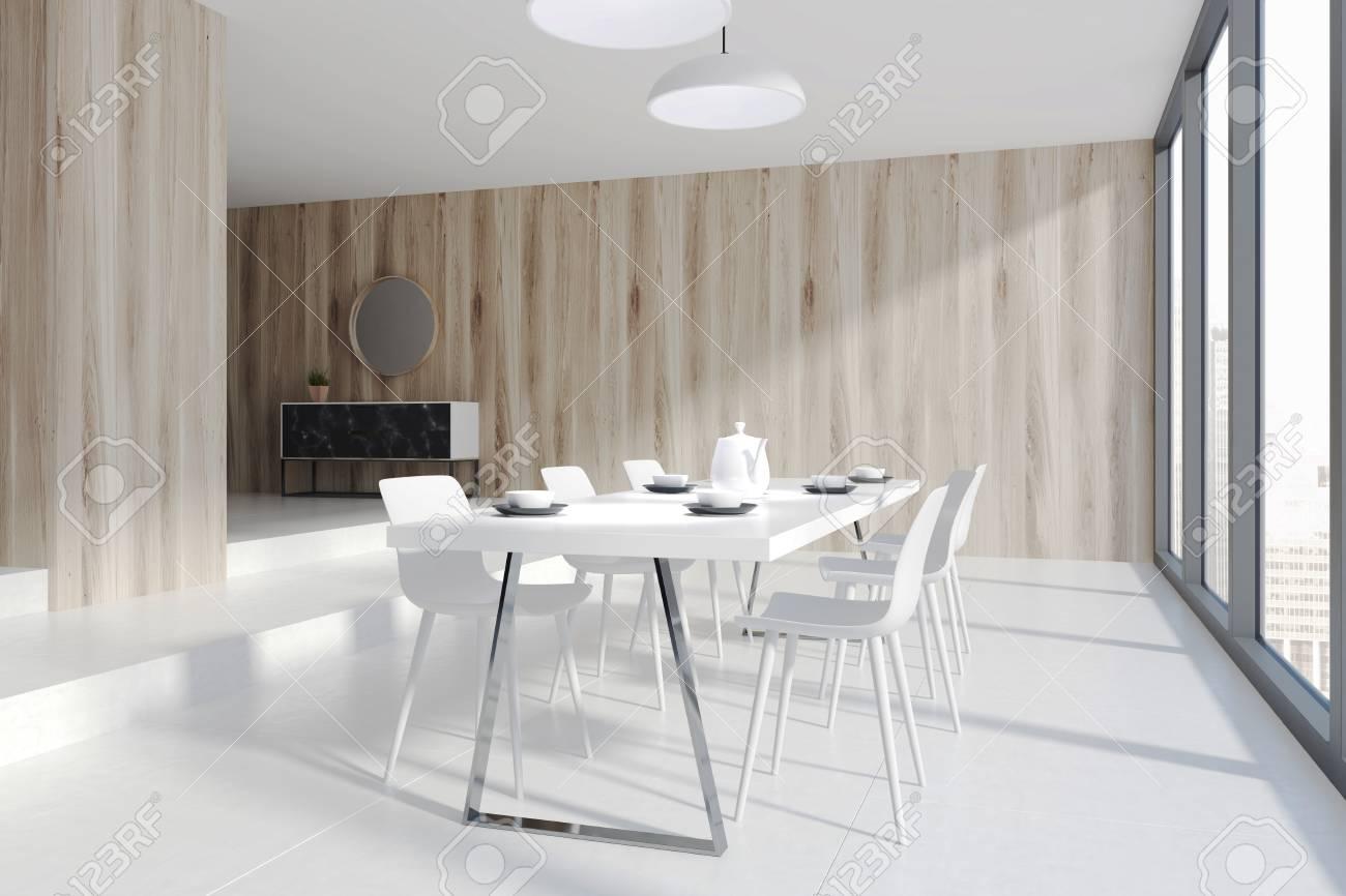 Genial Tisch Esszimmer Referenz Von Holz-esszimmer-ecke Mit Einem Panoramafenster, Einem Betonboden Und