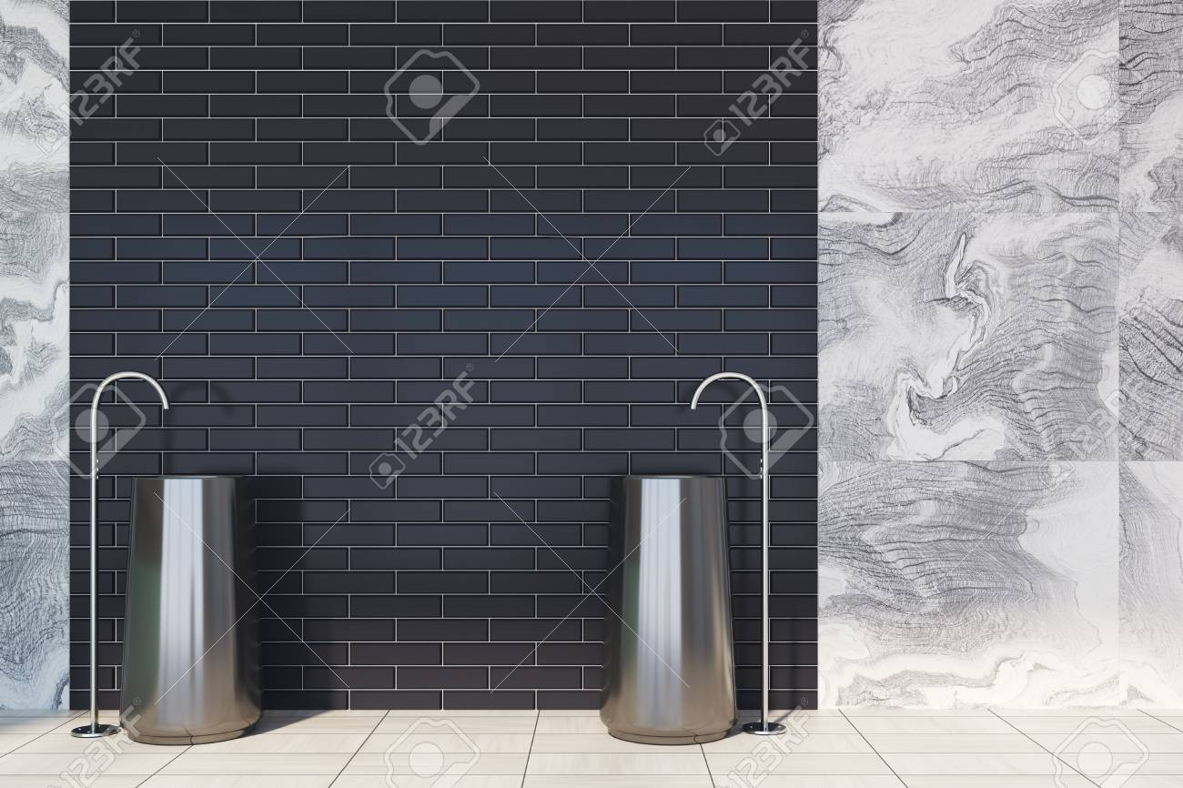 Gray Marble Bathroom Interior With A Black Brick Wall Decoration