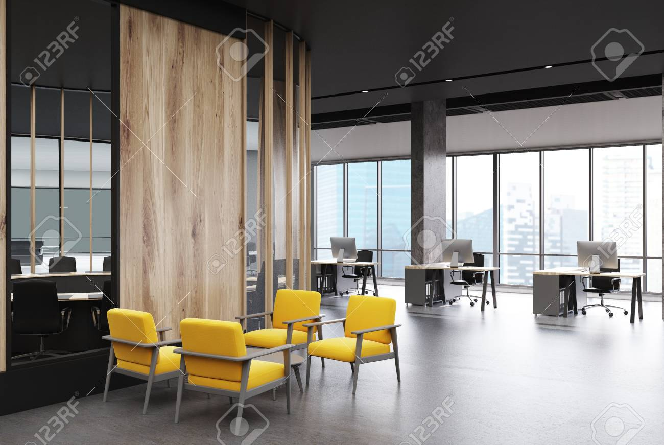 Loft Office Interior With A Concrete Floor And Columns Meeting Room In The Background