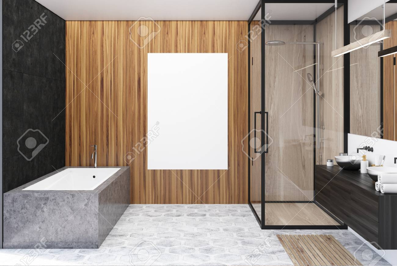 Black And Wooden Bathroom Interior With A Gray Floor, An Angular ...