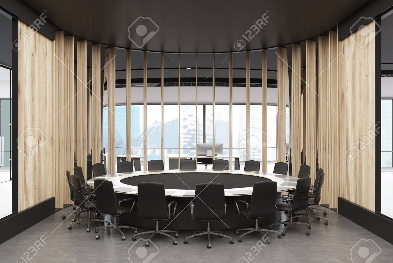 Round wooden conference room interior with wooden walls, a round..