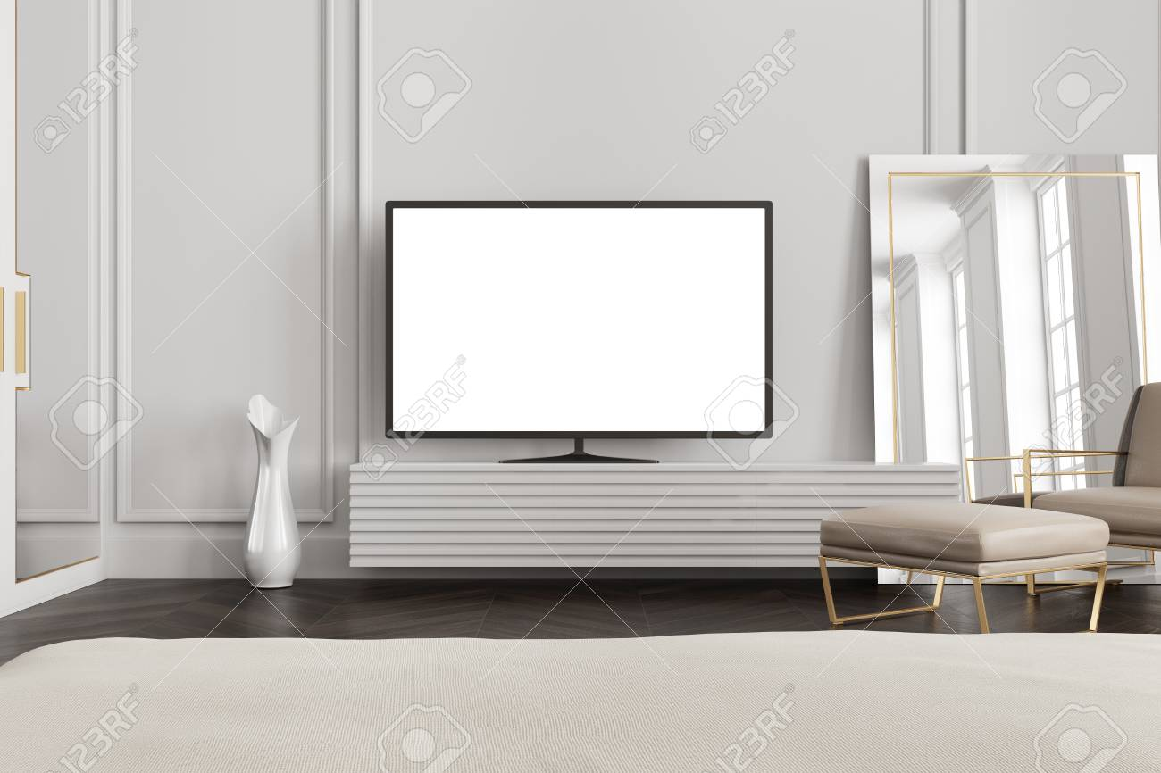 Tv Kast Blank.Tv Set With A Blank White Screen Is Standing On A Wooden Closet