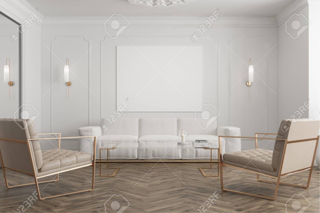 Stock photo white waiting room interior with a wooden floor a mirror a white sofa and two beige armchairs a poster close up 3d rendering mock up