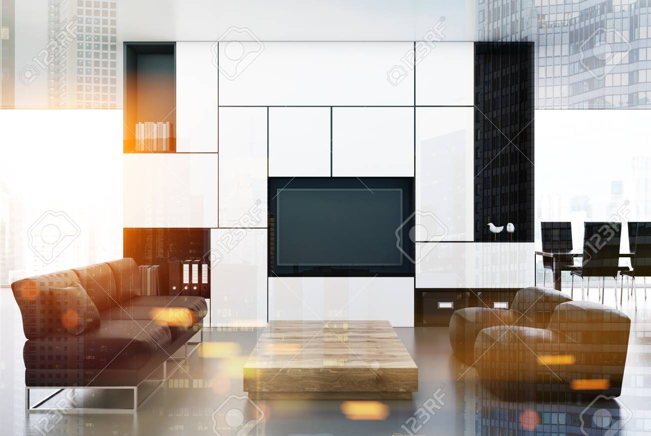 Enjoyable White And Black Living Room Interior With A Built In Tv Set Theyellowbook Wood Chair Design Ideas Theyellowbookinfo