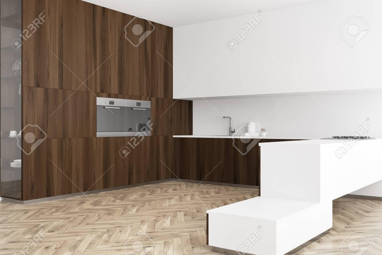 Sehr Weiße Und Hölzerne Küche Ecke Mit Einem Hölzernen Holz . Holz Und AT15