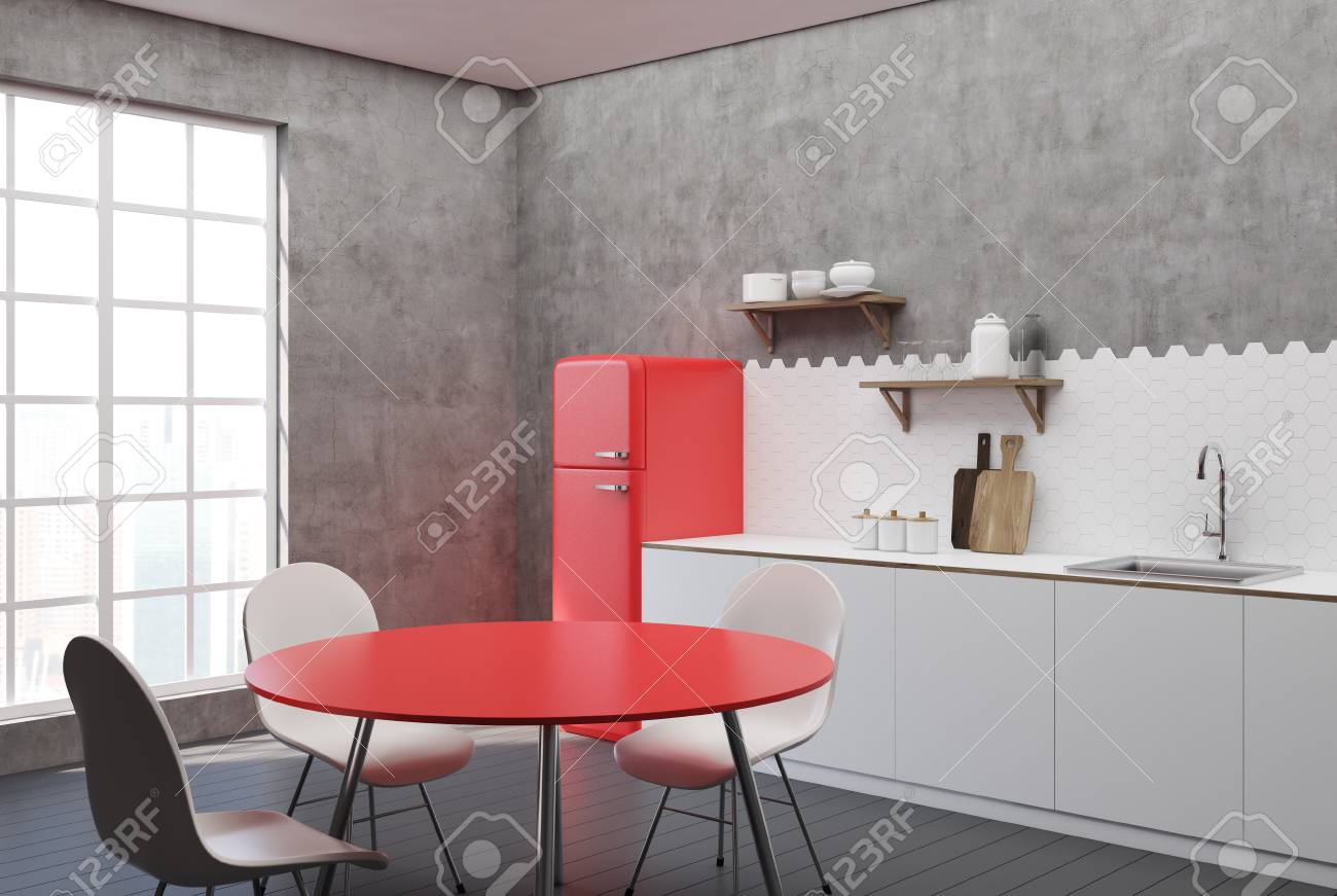 White And Concrete Kitchen Interior With Hexagon Tiles A Countertop Stock Photo Picture And Royalty Free Image Image 92872168