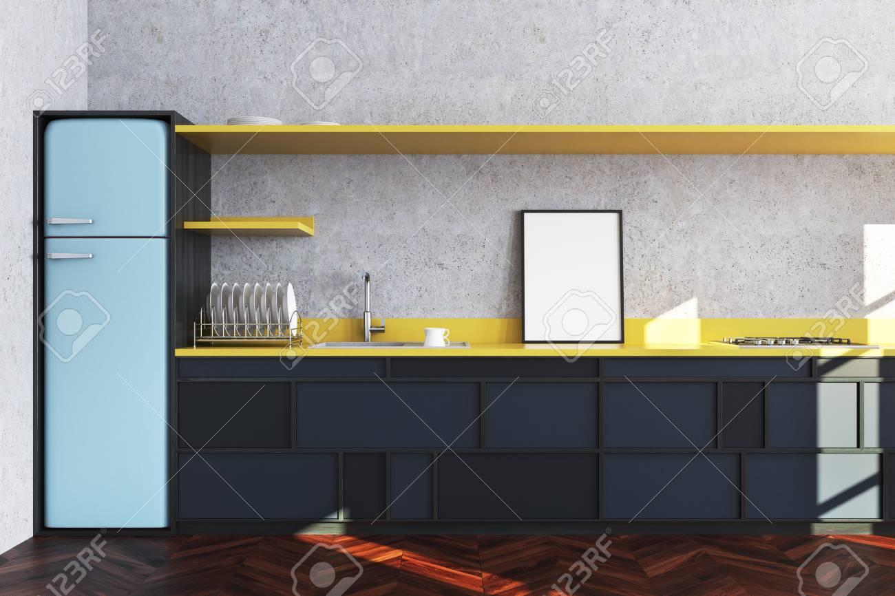 Interior De La Cocina De Hormigón Con Un Piso De Madera, Encimeras ...