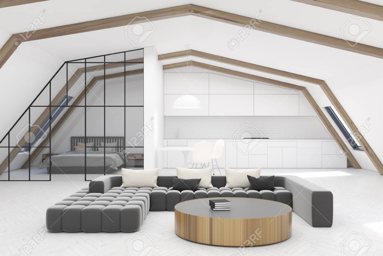 Attic Living Room Interior With White Walls, Wooden Ceiling Beams ...
