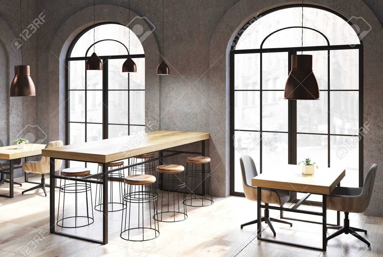 Dark Concrete Coffee Shop Interior With A Wooden Floor, Tables And Chairs.  Arch Like