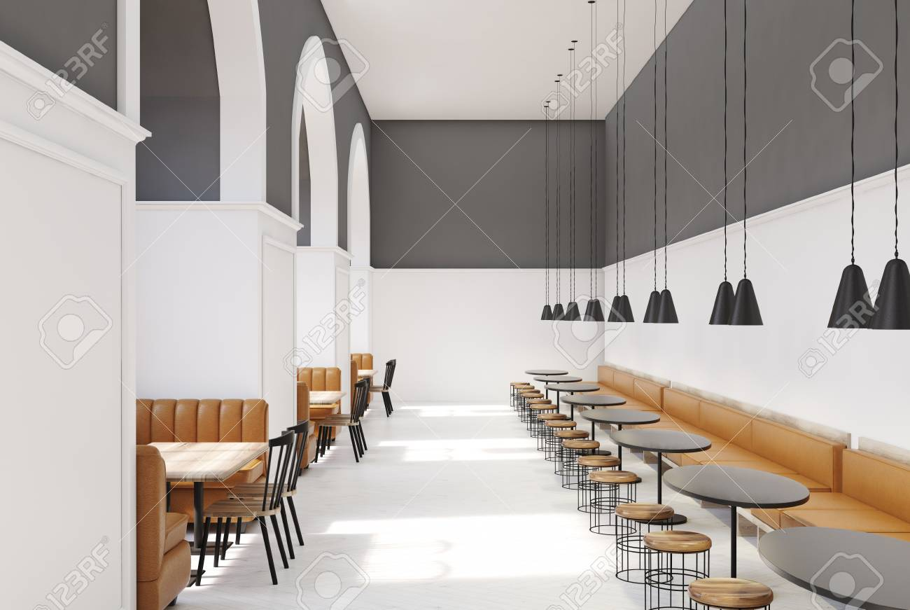 . Modern cafe interior with white and gray walls  a white floor