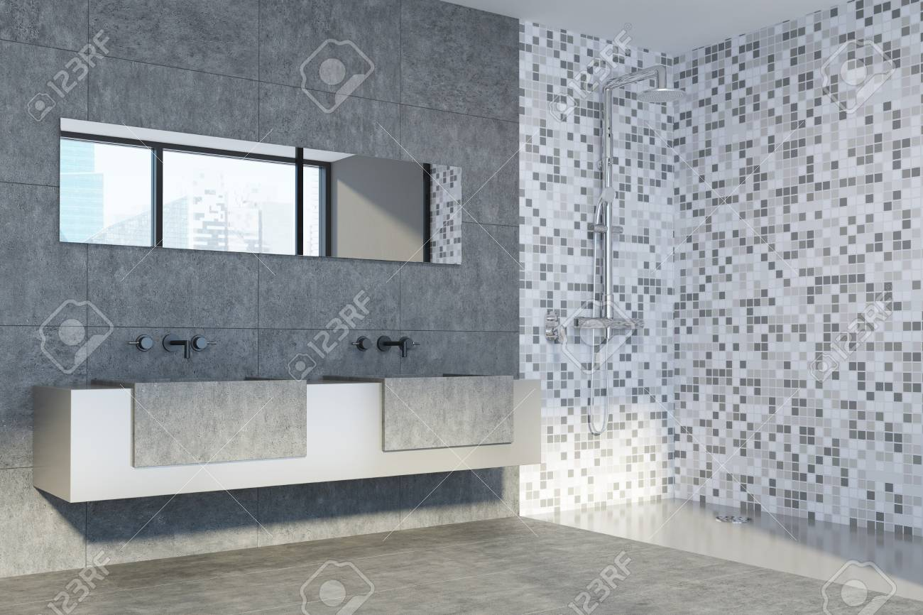 Concrete And Tiled Bathroom Interior With A Double Sink Standing ...