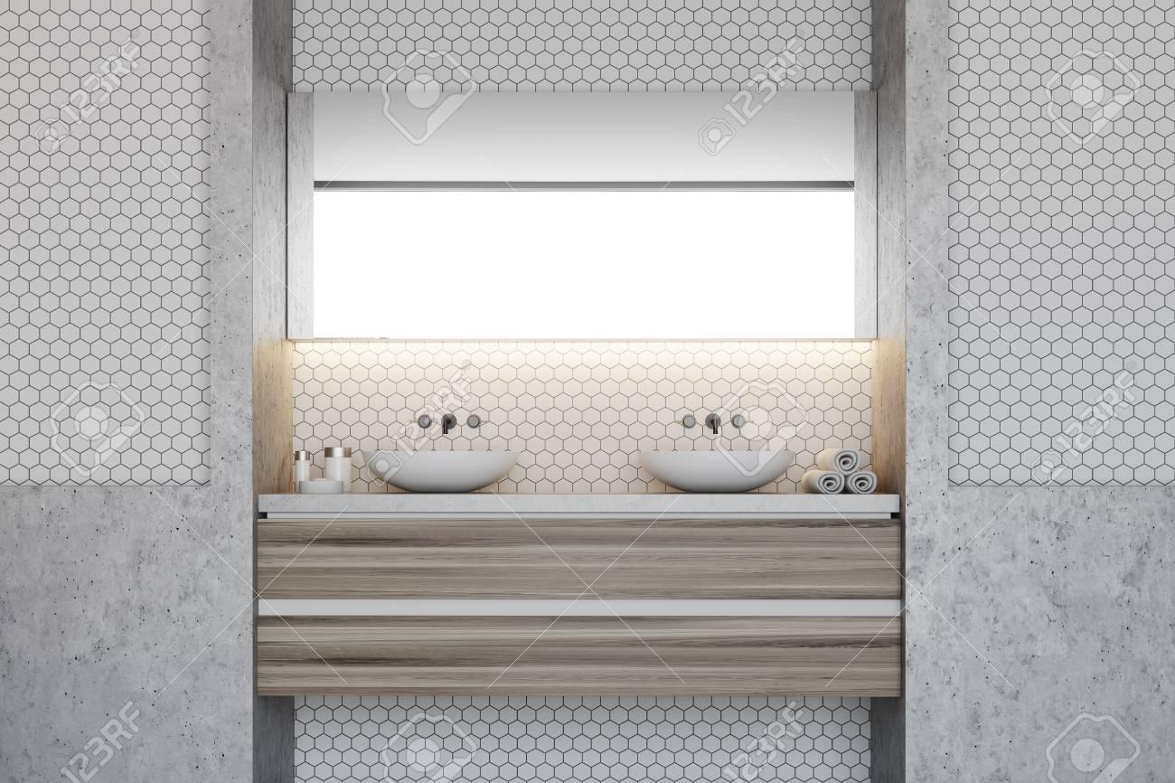 carrelage hexagonal et interieur de salle de bains avec mur blanc et double lavabo sur une etagere en bois rendu 3d maquette