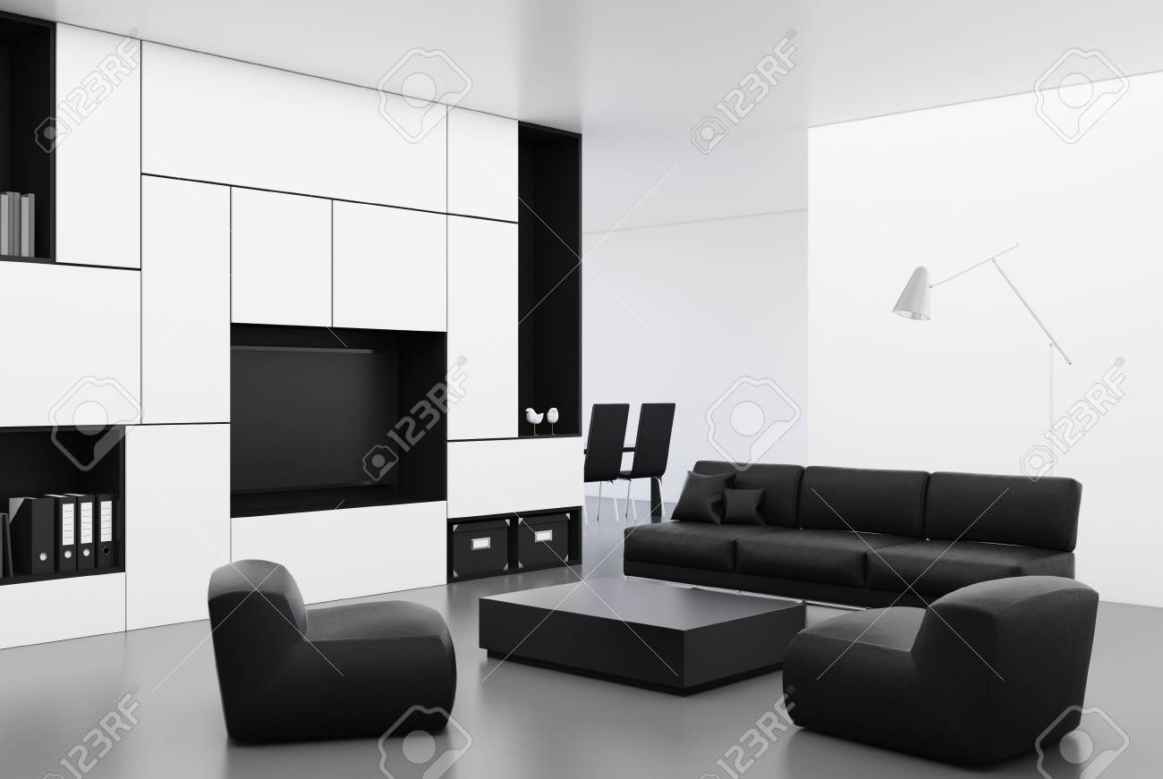White Living Room Corner With A Long Black Sofa, A Square Coffee ...