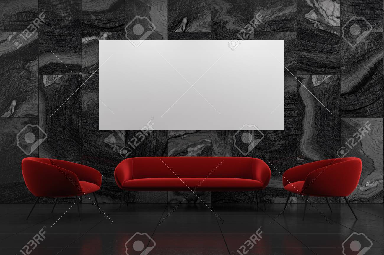 . Black marble living room interior with a red sofa  two armchairs