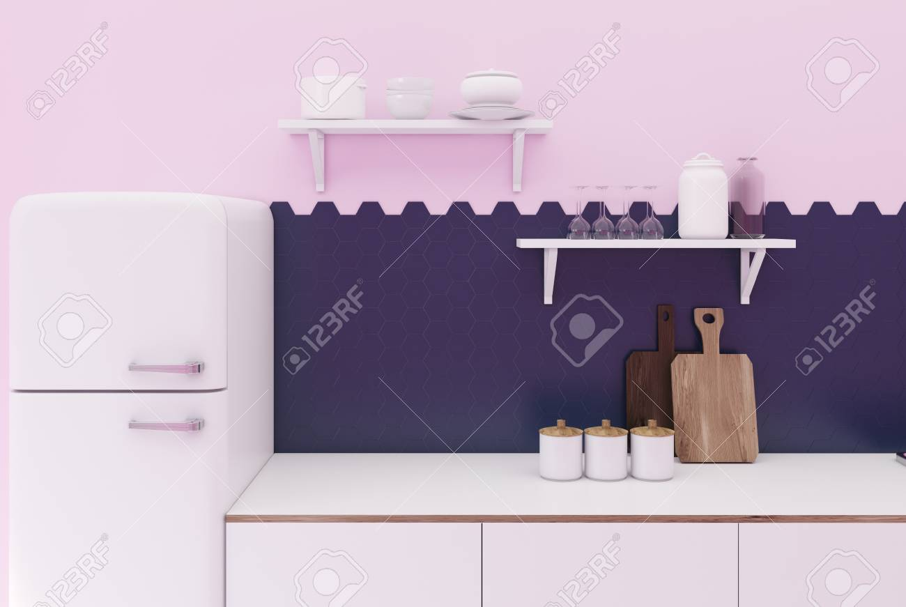 Black And Pink Kitchen Interior With Hexagon Tiles A Countertop Stock Photo Picture And Royalty Free Image Image 92788834