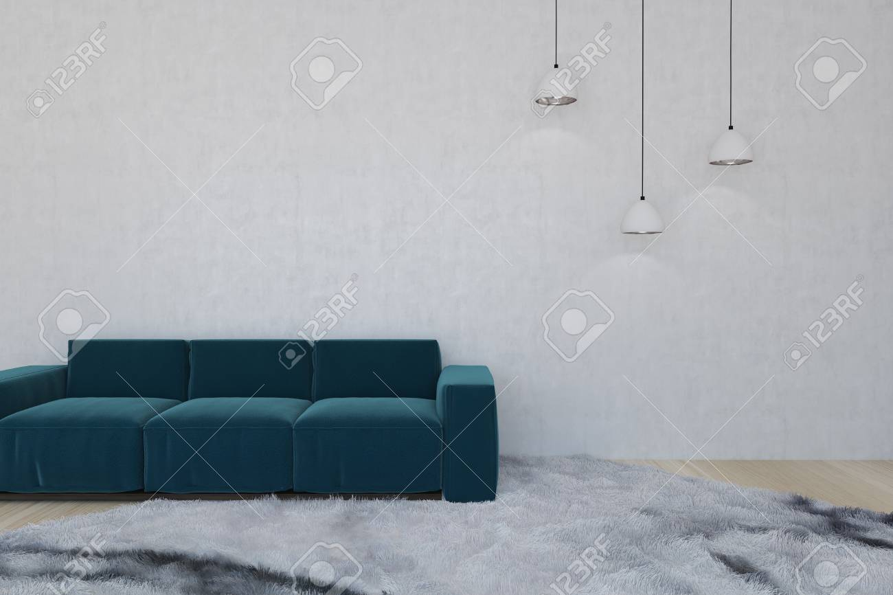Blue Sofa In A Modern Living Room With A Soft Fluffy Carpet On ...