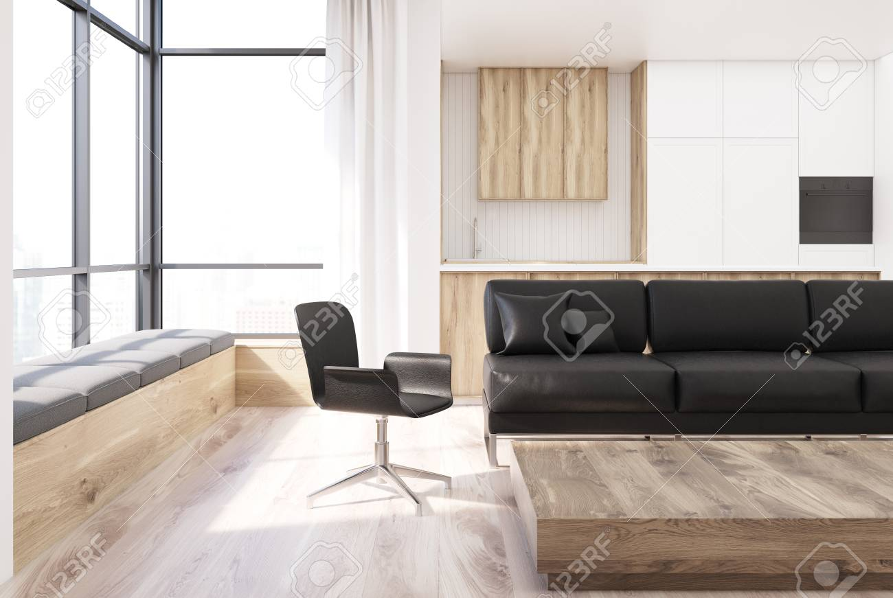 White And Wooden Living Room Interior With A Black Sofa A Wooden Stock Photo Picture And Royalty Free Image Image 92872649