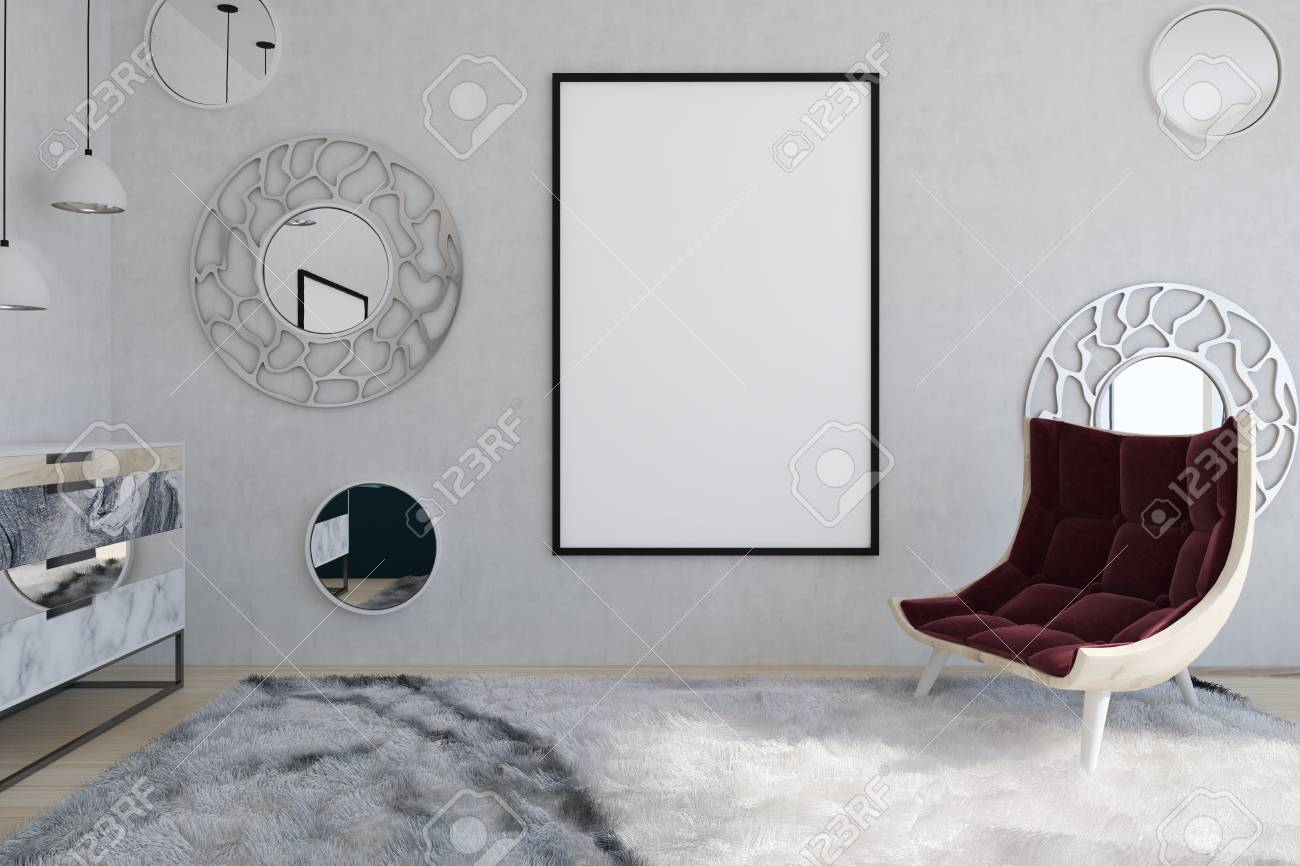 Red Armchair And Poster In Modern Living Room With Round Mirrors ...