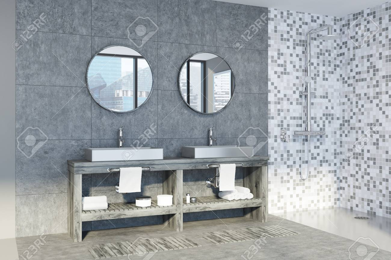 Gray And Tiled Bathroom Interior With A Double Sink Standing.. Stock ...