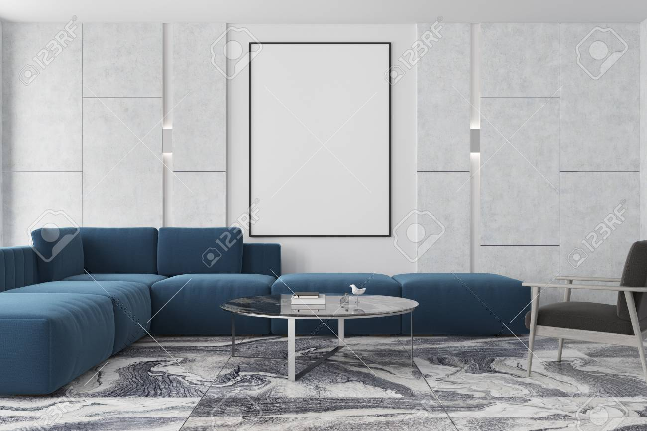 Modern Living Room Interior With A Gray Marble Floor Gray And Stock Photo Picture And Royalty Free Image Image 93277450