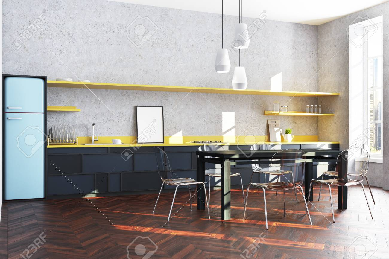 Modern Kitchen Corner With Black And Yellow Countertops, A Blue ...