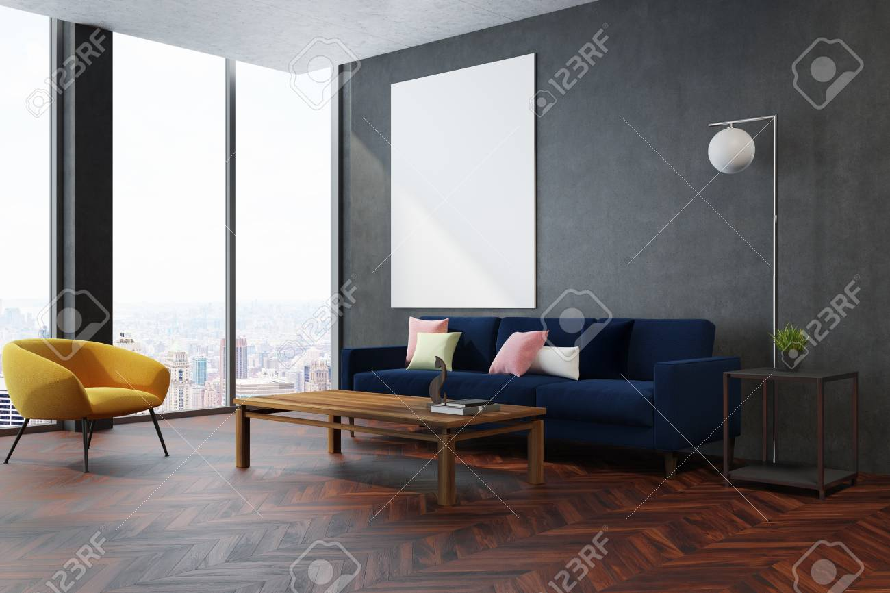 Modern Living Room Corner With A Wooden Floor Gray Walls And Stock Photo Picture And Royalty Free Image Image 93278758