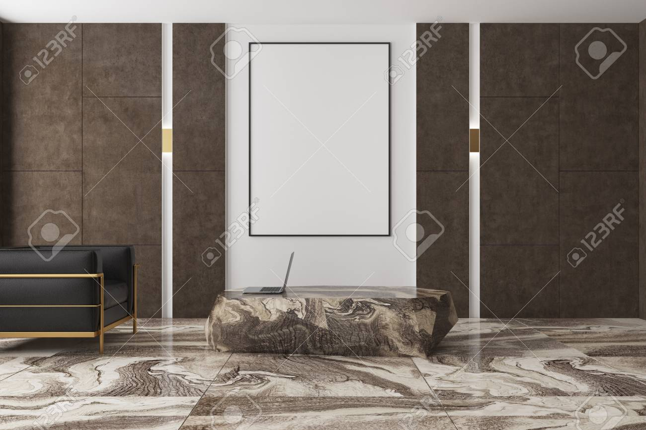 Modern Living Room Interior With A Brown Marble Floor Brown Stock Photo Picture And Royalty Free Image Image 93278765