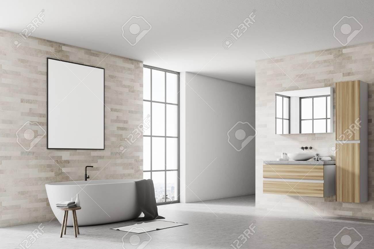 Coin d & # 39 ; une salle de bains moderne avec baignoire blanche et un  plafond de béton un bain blanc et une vignette de rendu 3d d & # 39 ; une  ...
