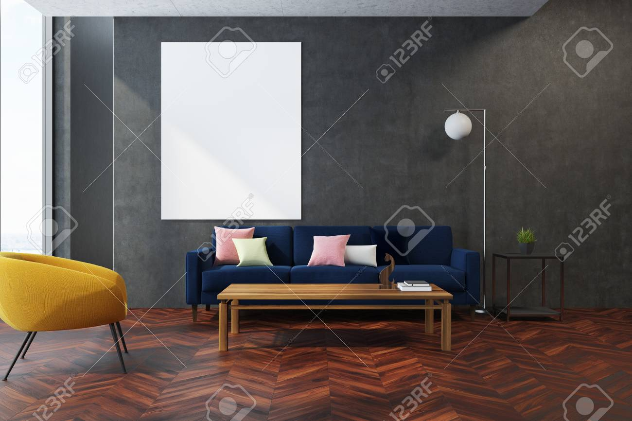 Modern Living Room Interior With A Wooden Floor Gray Walls And Stock Photo Picture And Royalty Free Image Image 93278876