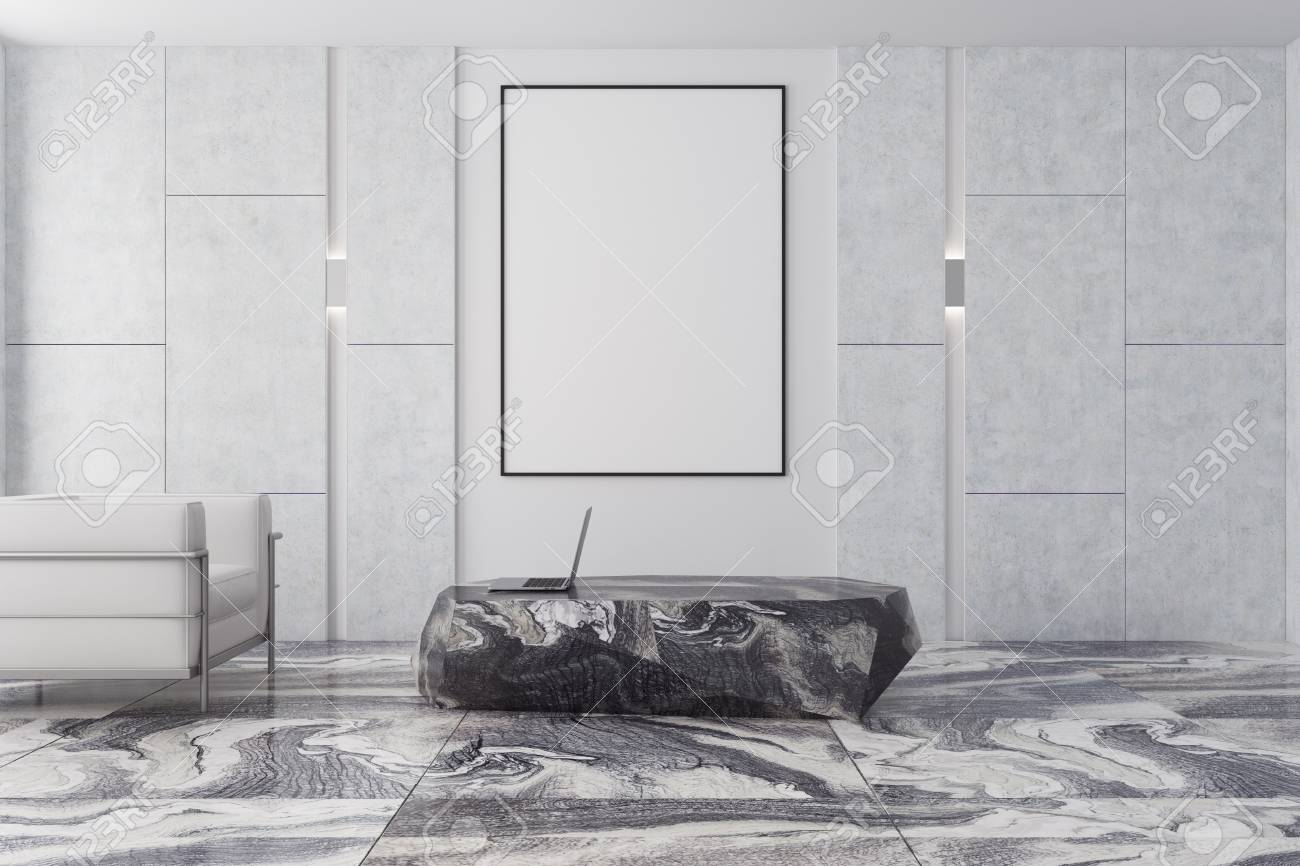Modern Living Room Interior With A Gray Marble Floor Gray And Stock Photo Picture And Royalty Free Image Image 93295132