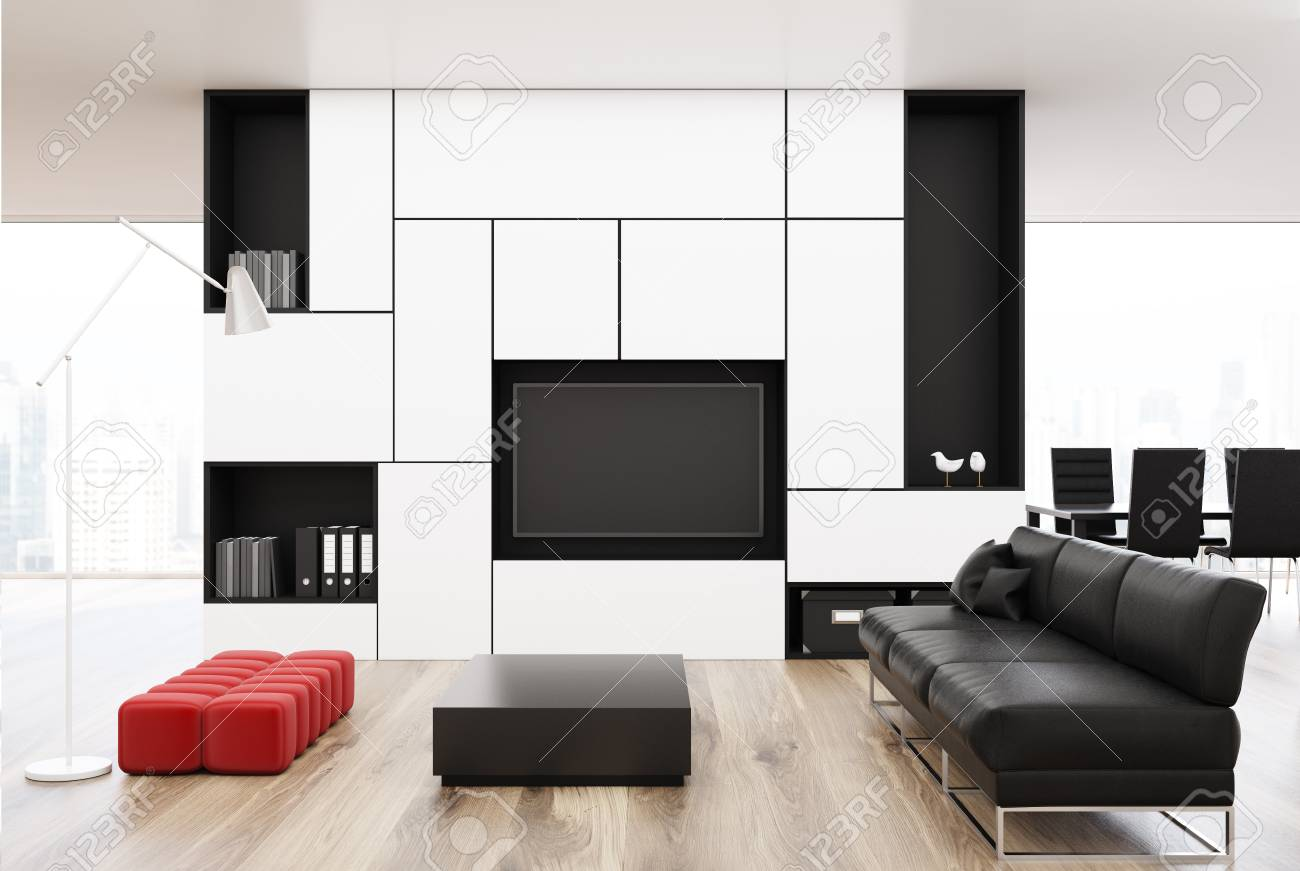 White Living Room Interior With A Long Black Sofa, A Square Coffee ...
