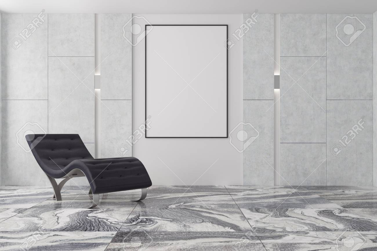 Minimalistic Living Room Interior With A Gray Marble Floor Gray Stock Photo Picture And Royalty Free Image Image 93295601