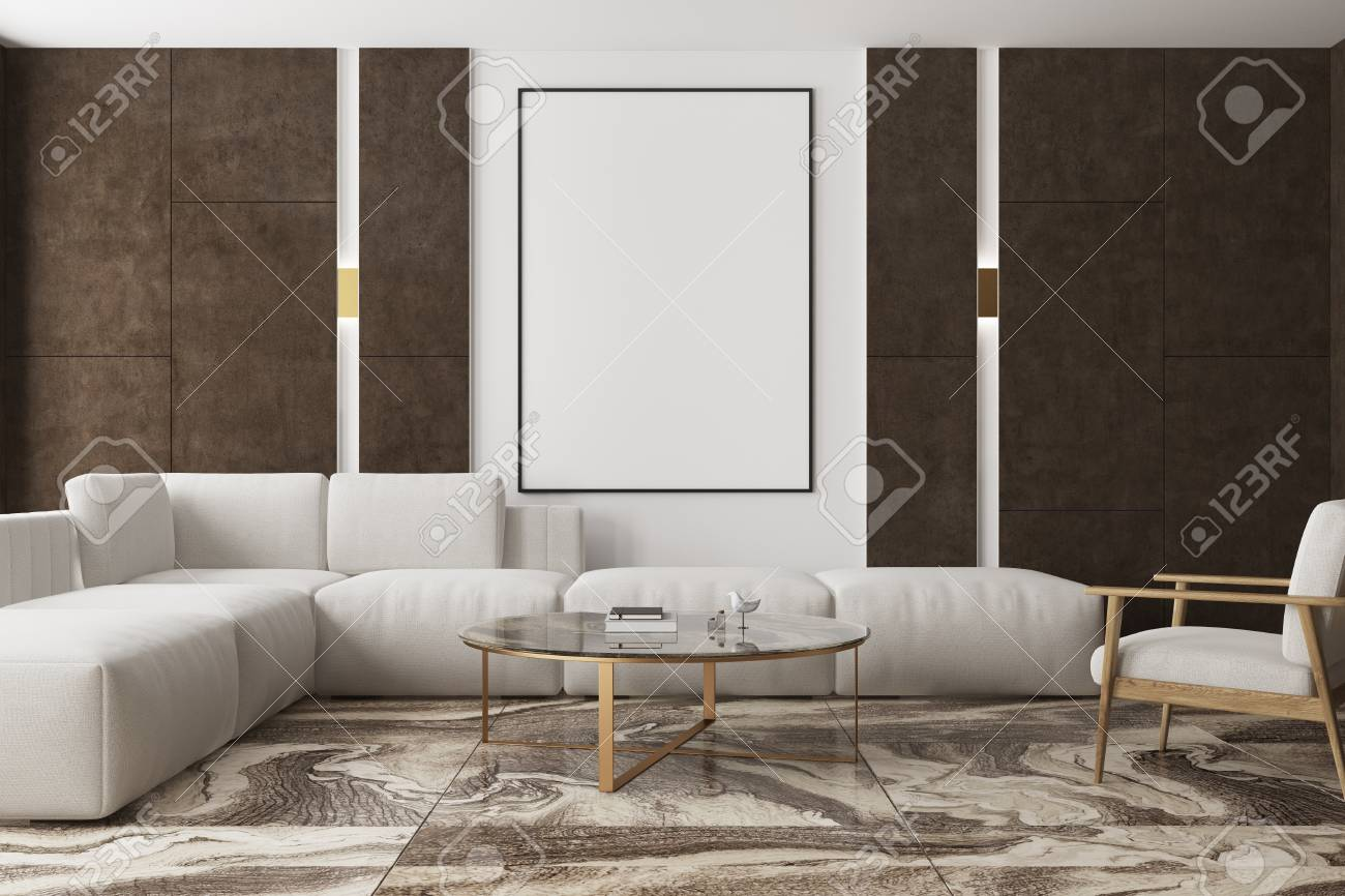 Modern Living Room Interior With A Brown Marble Floor Brown Stock Photo Picture And Royalty Free Image Image 93737985