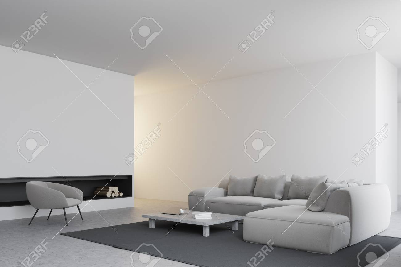 Modern Living Room Corner With White Walls, A Concrete Floor ...