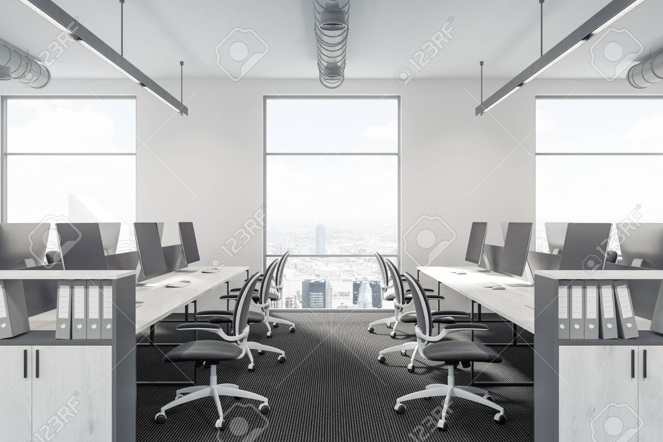 Image of: Modern Office Interior With White Walls Large Windows White Stock Photo Picture And Royalty Free Image Image 93741550