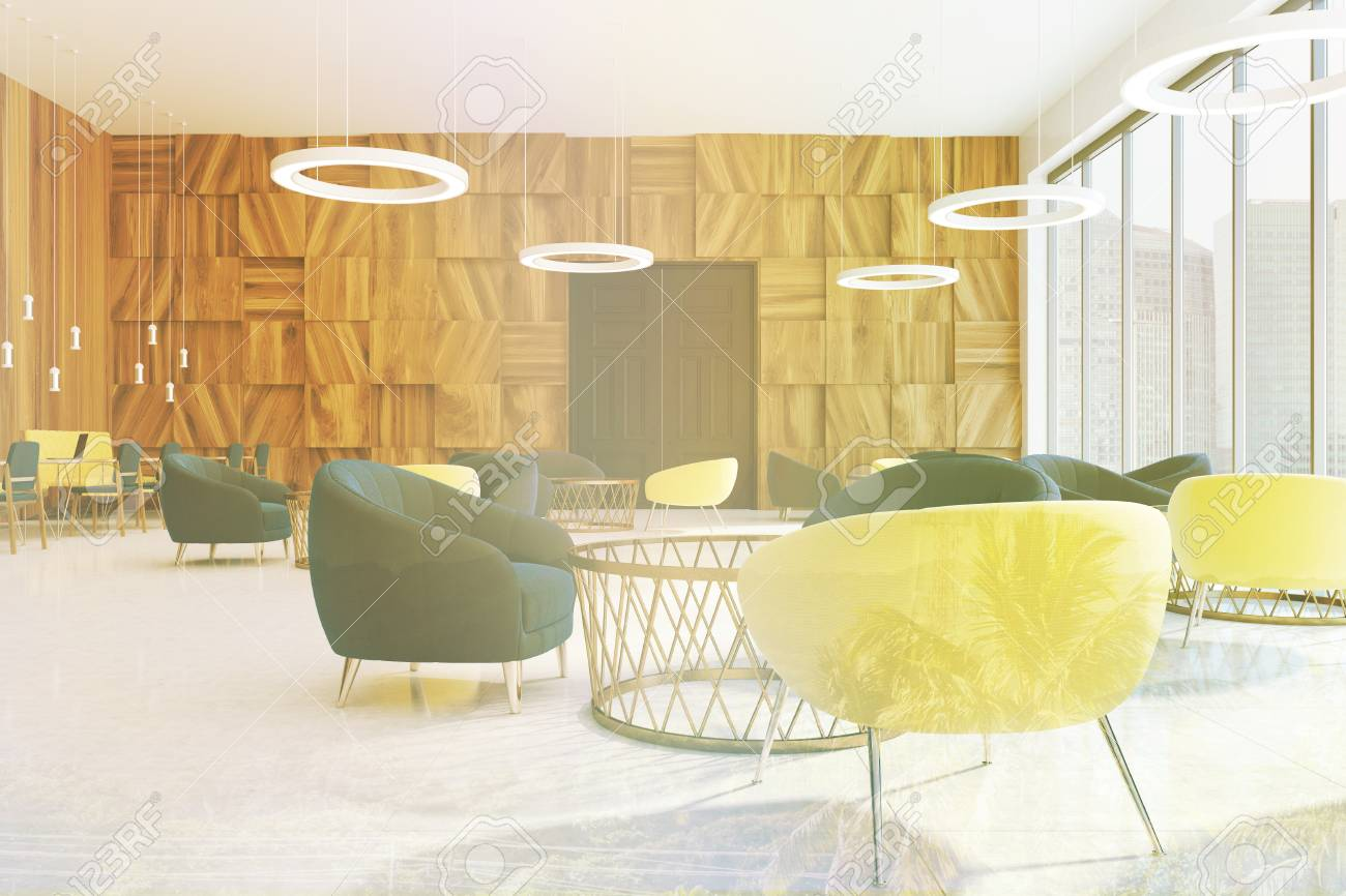 Office Waiting Room Interior With Wooden Walls, A Concrete Floor ...