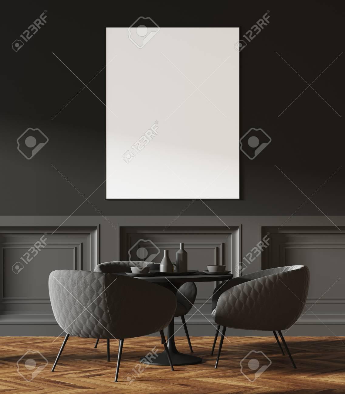 Immagini Stock Moderno Caffe Grigio Scuro Con Pavimento In Legno E Sedie Grigio Scuro Vicino A Tavoli Rotondi Un Poster Incorniciato Un Primo Piano Rendering 3d Mock Up Image 94242268