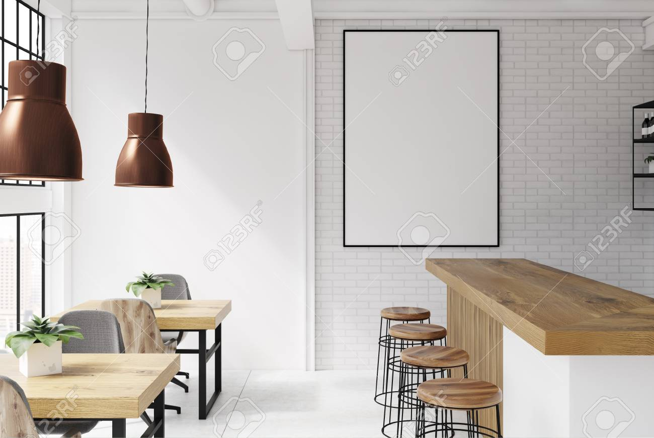 Brick and white loft bar interior with a concrete floor, a bar with stools and wooden tables with chairs. A poster. 3d rendering mock up - 94242499