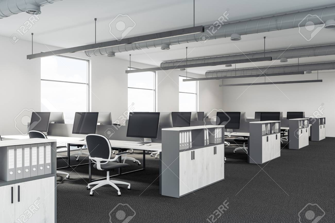 Image of: Modern Office Interior With White Walls Large Windows White Stock Photo Picture And Royalty Free Image Image 94242509