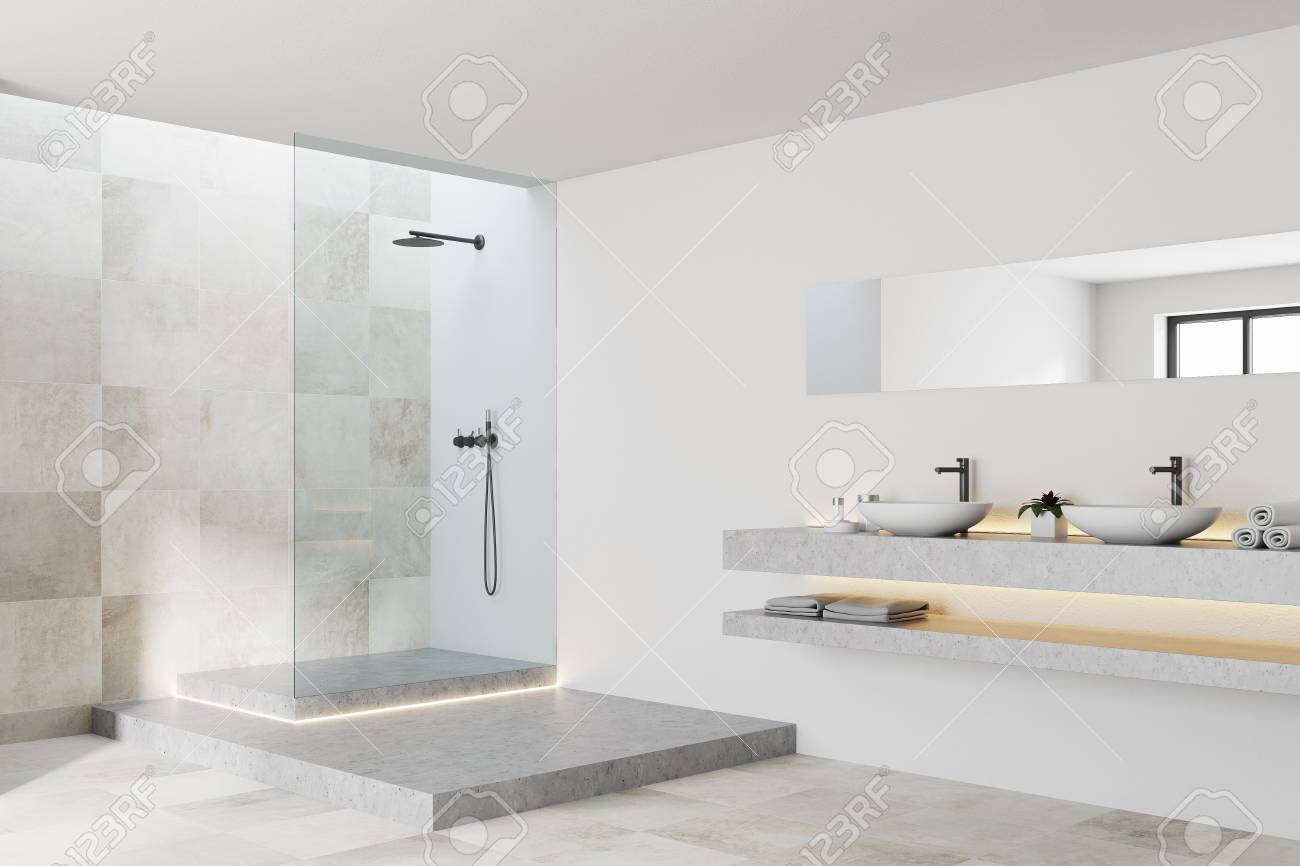 White And Tiled Bathroom Interior With A White Tiled Floor, A ...